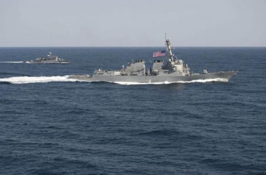 USS Lassen (DDG 82) (R) transits in formation with ROKS Sokcho (PCC 778) during exercise Foal Eagle 2015, in waters east of the Korean Peninsula, in this March 12, 2015 file handout photo provided by the U.S. Navy. REUTERS/U.S. Navy/Mass Communication Specialist 1st Class Martin Wright/Handout via Reuters