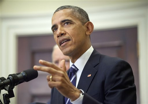 President Barack Obama announces he's rejecting the Keystone XL pipeline because he does not believe it serves the national interest, Friday Nov. 6, 2015, in the Roosevelt Room of the White House in Washington. (AP Photo/Pablo Martinez Monsivais)