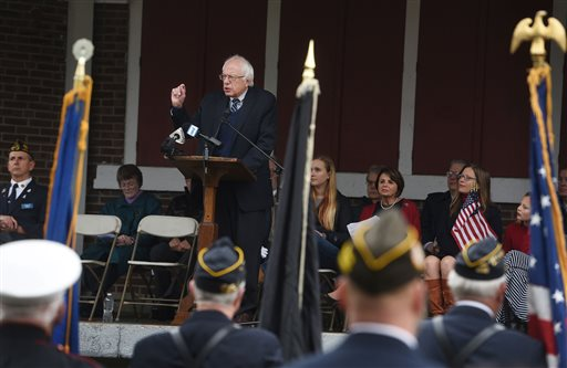 Democratic presidential candidate, Sen. Bernie Sanders, I-Vt. , speaks about the need to honor veterans throughout their lifetime during the annual Veterans Day ceremony at Colburn Park in Lebanon, N.H., Wednesday, Nov. 11, 2015. (Sarah Priestap/The Valley News via AP) MANDATORY CREDIT