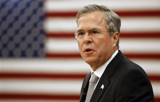 Republican presidential candidate, former Florida Gov. Jeb Bush, gives a speech on foreign policy and national defense, Wednesday, Nov. 18, 2015, on the campus of The Citadel in Charleston, S.C. (AP Photo/Mic Smith)