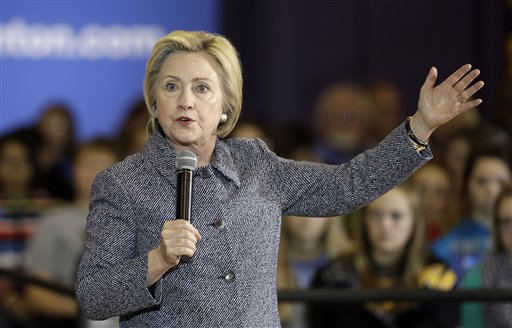 Democratic presidential candidate Hillary Clinton speaks during a town hall meeting at Keota High School, Tuesday, Dec. 22, 2015, in Keota, Iowa. (AP Photo/Charlie Neibergall)