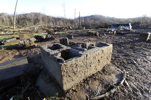Part of the foundation of the home of Antonio Yzaguirre, and his wife, Ann Yzaguirre, remains, Thursday, Dec. 24, 2015, after severe storms went through the area Wednesday night near Linden, Tenn. The couple was killed in the storm. (AP Photo/Mark Humphrey)