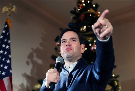 Republican presidential candidate Sen. Marco Rubio, R-Fla., points to a potential supporter for a question during a campaign stop, Monday, Dec. 21, 2015, in Rochester, N.H. (AP Photo/Mary Schwalm)