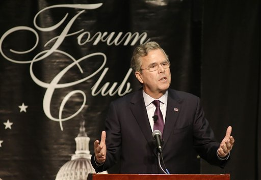 Republican presidential candidate, former Florida Gov. Jeb Bush speaks during a Forum Club of the Palm Beaches event, Monday, Dec. 28, 2015, at the Palm Beach County Convention Center in West Palm Beach, Fla. (AP Photo/Terry Renna)