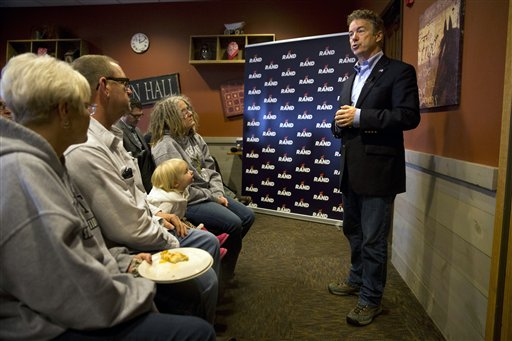 In this Jan. 8, 2016, photo, Republican presidential candidate, Sen. Rand Paul, R-Ky. speaks during his campaign event held at a restaurant in Ottumwa, Iowa. (AP Photo/Jae C. Hong)