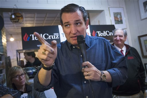 Republican presidential candidate, Sen. Ted Cruz, R-Texas speaks during a campaign stop at the Freedom Country Store, Tuesday, Jan. 19, 2016, in Freedom, N.H. (AP Photo/John Minchillo)