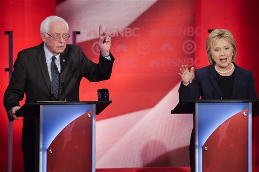 Democratic presidential candidate, Sen. Bernie Sanders, I-Vt, reacts to Democratic presidential candidate, Hillary Clinton's answer to a question during a Democratic presidential primary debate hosted by MSNBC at the University of New Hampshire Thursday, Feb. 4, 2016, in Durham, N.H. (AP Photo/David Goldman)