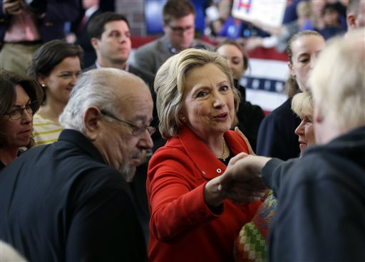 Democratic presidential candidate Hillary Clinton, center, shakes hands with supporters after speaking at a rally at Truckee Meadows Community College on Monday, Feb. 15, 2016, in Reno, Nev. (AP Photo/Marcio Jose Sanchez)