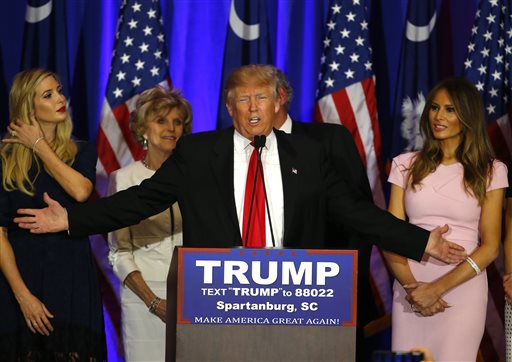 Republican presidential candidate Donald Trump speaks during a South Carolina Republican primary night event, Saturday, Feb. 20, 2016 in Spartanburg, S.C. Trump is the winner in the South Carolina Republican primary.  (AP Photo/Paul Sancya)