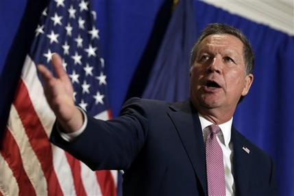Republican presidential candidate, Ohio Gov. John Kasich speaks during a news conference in New York, Thursday, March 31, 2016.  Kasich is convinced he can swing hundreds of delegates to swing his way at a contested summer convention by assuring that only he can usher his party back into the White House.(AP Photo/Richard Drew)