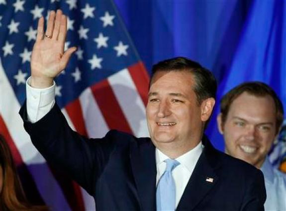 Republican presidential candidate Sen. Ted Cruz, R-Texas, waves during a primary night campaign event, Tuesday, April 5, 2016, in Milwaukee. (AP Photo/Paul Sancya)