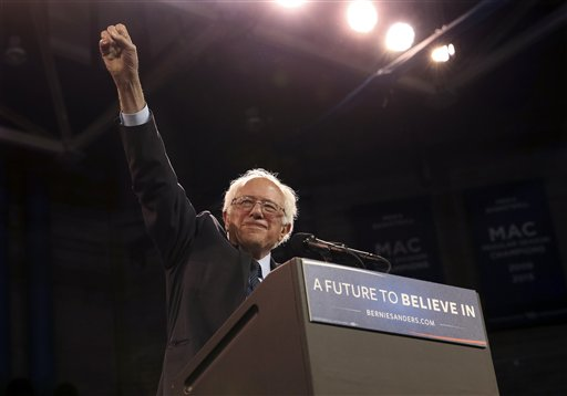 Democratic presidential candidate Sen. Bernie Sanders, I-Vt., waves as he speaks at a campaign rally Monday, April 11, 2016, in Buffalo, N.Y. (AP Photo/Mel Evans)