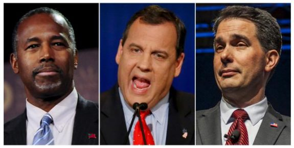 Former presidential candidate Ben Carson (L), Governor of New Jersey Chris Christie (C), and Governor of Wisconsin Scott Walker are pictured in this combination photo. REUTERS/File Photo
