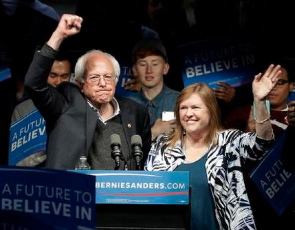 Democratic presidential candidate, Sen. Bernie Sanders, I-Vt., and his wife Jane Sanders, wave after a campaign rally Tuesday, May 3, 2016, in Louisville, Ky. (AP Photo/Charlie Riedel)