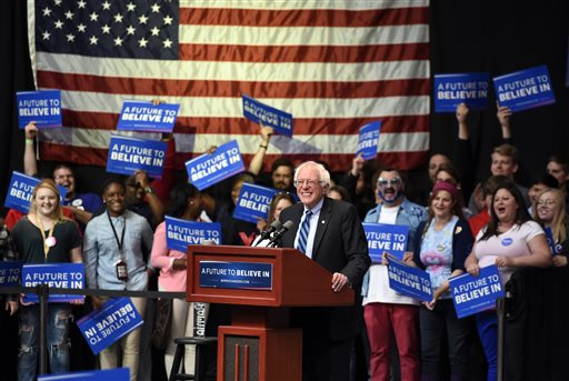 Democratic presidential hopeful Bernie Sanders speaks to a crowd at the Old National Events Plaza during a rally in Evansville, Ind., Monday, May 2, 2016.  Indiana holds its primary Tuesday.  (Jason Clark/Evansville Courier & Press via AP) MANDATORY CREDIT