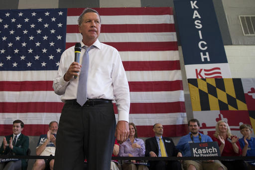 Republican presidential candidate, Ohio Gov. John Kasich speaks during a town hall at Thomas farms Community Center on Monday, April 25, 2016, in Rockville, Md. (AP Photo/Evan Vucci)