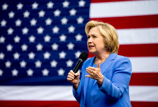 Democratic presidential candidate Hillary Clinton speaks at the home of Nathan Smith during a campaign stop in Fort Mitchell, Ky., Sunday, May 15, 2016. (AP Photo/Andrew Harnik)