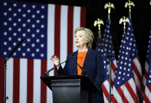 Democratic presidential candidate Hillary Clinton gives an address on national security, Thursday, June 2, 2016, in San Diego, Calif. (AP Photo/John Locher)