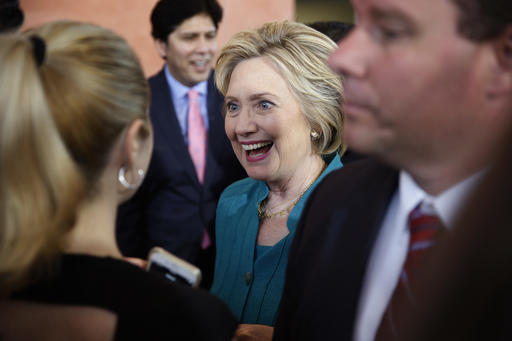 Democratic presidential candidate Hillary Clinton meets with people at an event at the Culinary Arts Institute, Saturday, June 4, 2016, in Sylmar, Calif. (AP Photo/John Locher)