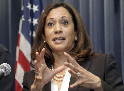 FILE - In this Sept. 2, 2015 file photo, California Attorney General Kamala Harris speaks at a news conference in Los Angeles. California's unusual election rules allow only two U.S. Senate candidates to advance to a November 2016 runoff. A series of polls in advance of Tuesday's election, June 7, 2016, suggest Attorney General Harris and U.S. Rep. Loretta Sanchez of Orange County, both Democrats, will face off again in the November contest. (AP Photo/Nick Ut, File)