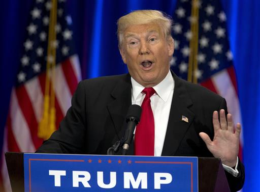 Republican presidential candidate Donald Trump speaks in New York. (AP Photo/Mary Altaffer)