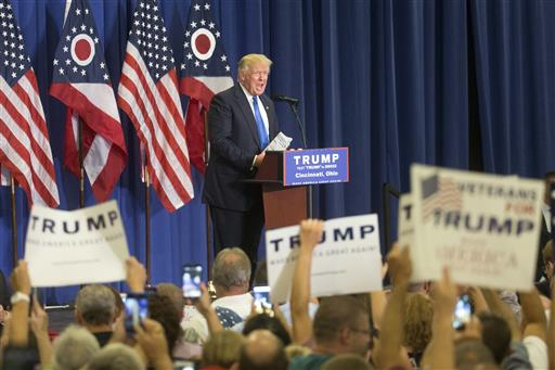 Republican presidential candidate Donald Trump speaks during a campaign rally at the Sharonville Convention Center, Wednesday, July 6, 2016, in Cincinnati. (AP Photo/John Minchillo)