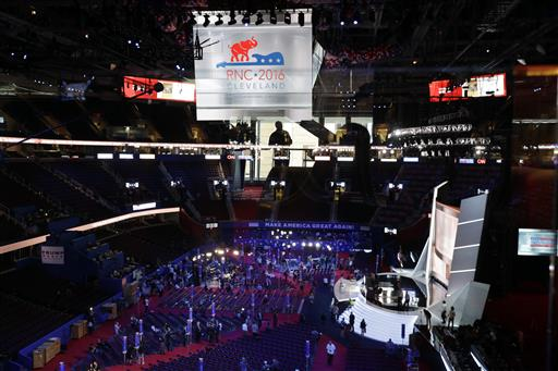 eople gather at Quicken Loans Arena as preparations take place for the Republican National Convention, Sunday, July 17, 2016, in Cleveland. (AP Photo/John Locher)