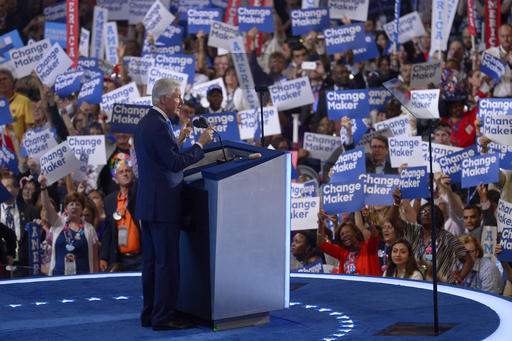 Former President Bill Clinton speaks during the second day of the Democratic National Convention in Philadelphia , Tuesday, July 26, 2016. (AP Photo/Mark J. Terrill)