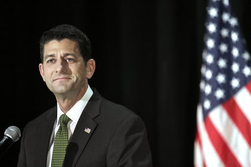 House Speaker Paul Ryan speaks inside the Armory in Janesville, Wis., following his defeat of first-time candidate Paul Nehlen in Wisconsin's primary on Tuesday, Aug. 9, 2016. Ryan rejected the idea that his easy win Tuesday over a longshot Republican primary challenger praised by Donald Trump spells danger for Trump's presidential prospects in the swing state of Wisconsin. (Anthony Wahl/The Janesville Gazette via AP)