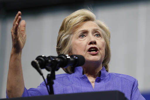 FILE - In this Aug. 15, 2016 file photo, Democratic presidential candidate Hillary Clinton speaks in Scranton, Pa. The State Department said Monday, Aug. 22, 2016, it is reviewing nearly 15,000 previously undisclosed emails recovered as part of the FBI's now-closed investigation into the handling of sensitive information that flowed through Hillary Clinton's private home server. (AP Photo/Carolyn Kaster, File)