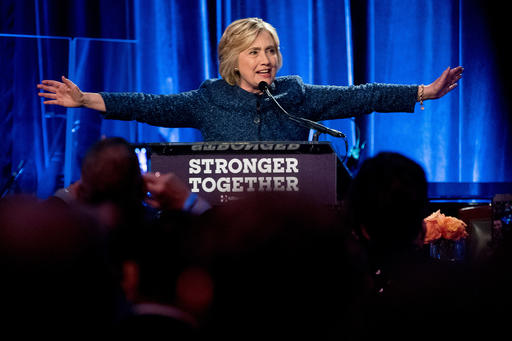 Democratic presidential candidate Hillary Clinton speaks at a LBGT For Hillary Gala at the Cipriani Club, in New York, Friday, Sept. 9, 2016. (AP Photo/Andrew Harnik)