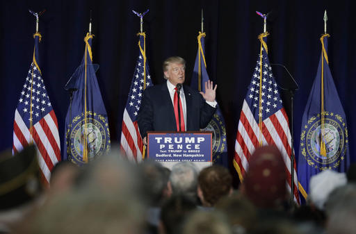 Republican presidential candidate Donald Trump speaks at a camoaign rally, Thursday, Sept. 29, 2016, in Bedford, N.H. (AP Photo/John Locher)