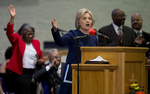 FILE - In this Sunday, March 13, 2016 file photo, Democratic presidential candidate Hillary Clinton speaks during service at Mount Zion Fellowship Church in Highland Hills, Ohio. A key aspect of Methodism _ social justice _ comes into play when looking at Clinton's life as a public servant, says Stephen Gunter of the Duke Divinity School. (AP Photo/Carolyn Kaster)