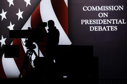 A television camera operator tests his position during a rehearsal for the third presidential debate between Republican presidential nominee Donald Trump and Democratic presidential nominee Hillary Clinton at UNLV in Las Vegas, Tuesday, Oct. 18, 2016. (AP Photo/Patrick Semansky)