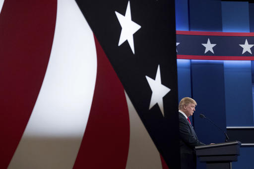Republican presidential candidate Donald Trump takes the stage for the third presidential debate at University of Nevada in Las Vegas, Wednesday, Oct. 19, 2016, for the third presidential debate. (AP Photo/Andrew Harnik)