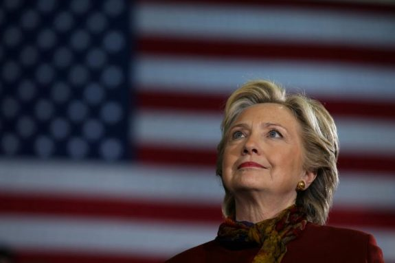 U.S. Democratic presidential nominee Hillary Clinton attends a campaign rally accompanied by vice presidential nominee Senator Tim Kaine (not pictured) in Pittsburgh, U.S., October 22, 2016. REUTERS/Carlos Barria/File Photo