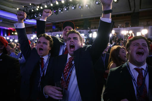 Supporters of Republican presidential candidate Donald Trump cheer as they watch election returns during an election night rally, Tuesday, Nov. 8, 2016, in New York. (AP Photo/ Evan Vucci)