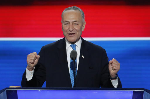 FILE - In this July 26, 2016 file photo, Sen. Chuck Schumer, D-NY., speaks during the second day of the Democratic National Convention in Philadelphia. Senate Democrats are turning to Schumer, a Brooklyn-bred partisan infighter with a pragmatic streak, to steer them into the Donald Trump era. Senate Democrats and Republicans are meeting separately Wednesday, Nov. 16, 2016, to pick their leaders for the Congress that convenes in January 2017. (AP Photo/J. Scott Applewhite, File)