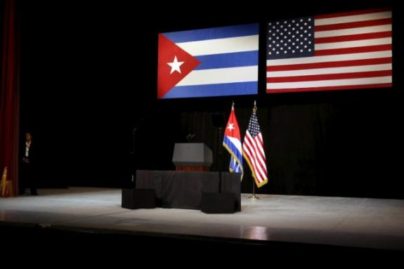 The stage is set with Cuban and U.S. flags beforefor U.S. President Barack Obama addresses the Cuban people from the stage at the Gran Teatro de la Habana Alicia Alonso in Havana March 22, 2016. REUTERS/Jonathan Ernst
