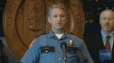 Acting SPD chief Jim Pugel at Thursday's announcement