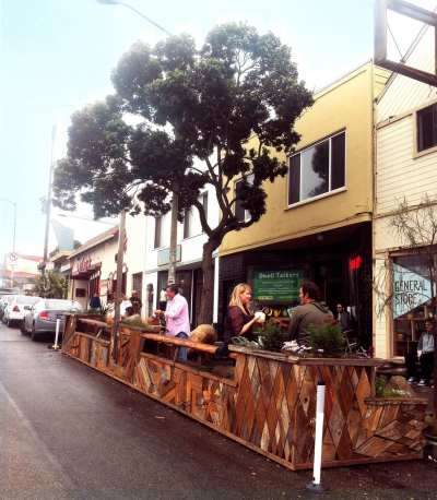 Wieland offered these images of San Francisco parklets as good examples of what to expect in Seattle's pilot program. (Images: City of San Francisco)