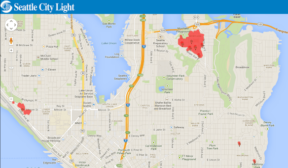 Montlake suffered this outage for most of Saturday leaving a few hundred without electricity. Bookmark the handy Seattle City Light mobile site to keep track of service disruptions and the more useful estimated time until restoration of power