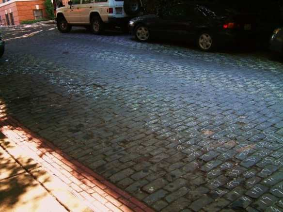 In 2010, CHS found these lines of numbers written in chalk on the cobbles of E Howell particularly disturbing
