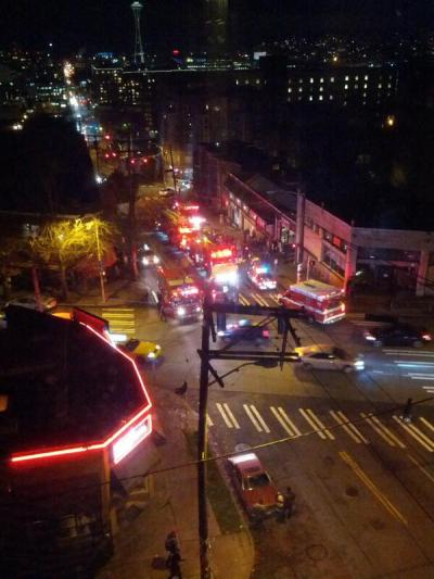 "Via @beacomedian: ""3 ambulances, 3 fire engines, 3 squad cars, 1 person on the ground"""