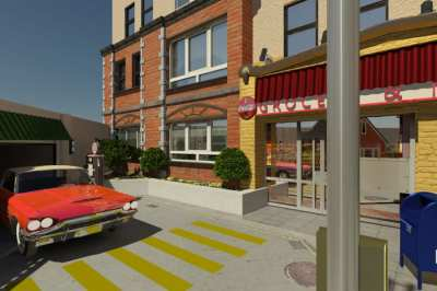 "Artist rendition of the planned ""Memory Care Deck"" -- ""Fresh air, walking and sunshine will brighten your day. Our secured Memory Care floor of Aegis on Madison was uniquely designed to offer a second-level outdoor deck that will bring back the feelings of yesteryear. The façade of an old-fashioned neighborhood will surround the deck including a vintage car parked at the local garage, mailboxes, benches, and the doorsteps of classic NW homes. Residents can walk and reminisce about 'the good old days' here."""