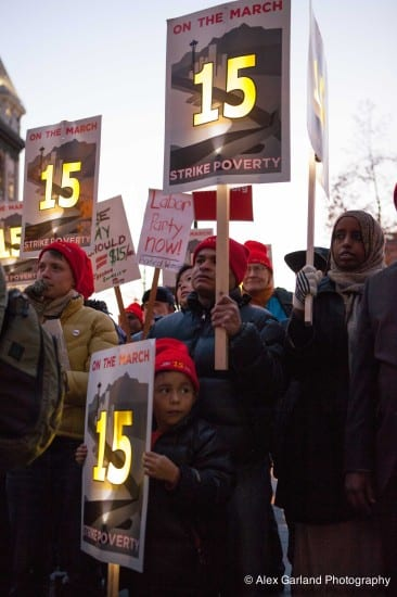 Supporters marched for the $15 minimum in December (Image: CHS)