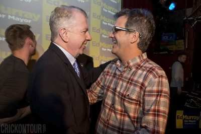 Murray and Capitol Hill nightlife power broker Dave Meinert enjoy an Election Night laugh