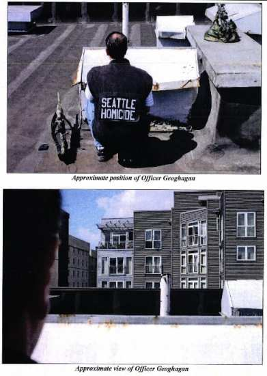 Seattle homicide reenacting the position and view of SWAT sniper Geohagan (Image: SPD)