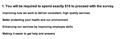 SPU's survey includes setting a hypothetical $10 budget for service improvements