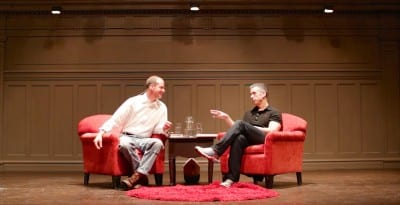 Timmermeister talks with Hillebrity Dan Savage at a recent Town Hall appearance (Image via Facebook)